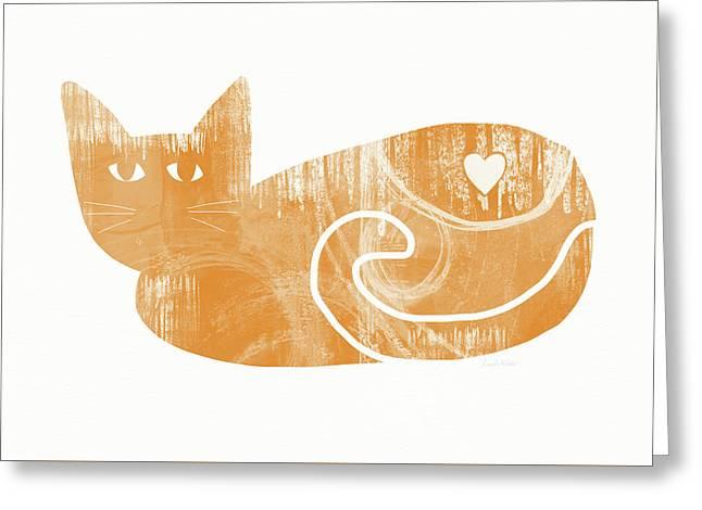 Orange Cat- Art By Linda Woods Greeting Card by Linda Woods
