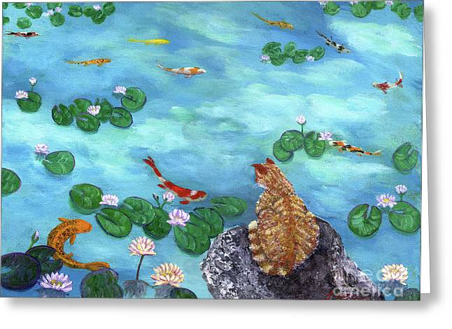 Koi Pond Greeting Cards - Orange Cat at Koi Pond Greeting Card by Laura Iverson