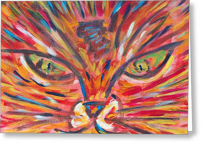 Carolyn Donnell Greeting Cards - Orange Cat Greeting Card by Carolyn Donnell