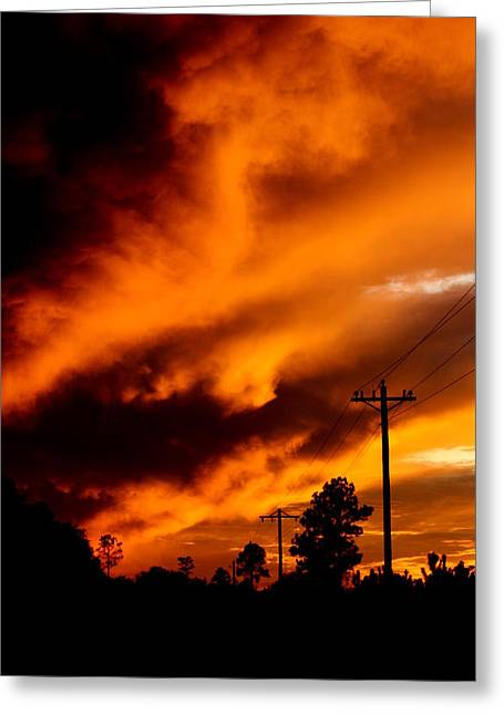 Blalock Greeting Cards - Orange clouds at sunset Greeting Card by Dana  Oliver