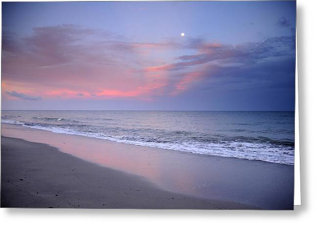Moon Beach Photographs Greeting Cards - Orange Clouds Greeting Card by Iris Greenwell
