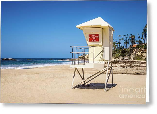 Orange County California Laguna Beach Lifeguard Tower  Greeting Card by Paul Velgos