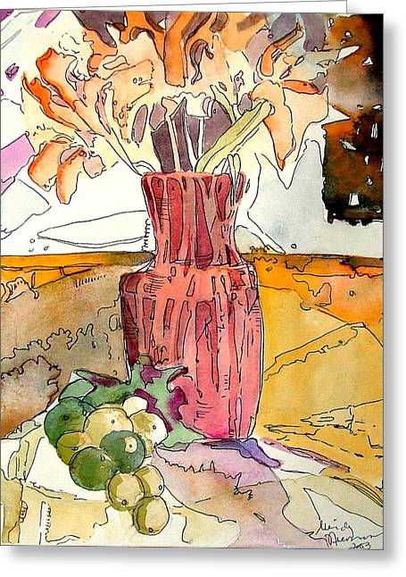 Life Line Mixed Media Greeting Cards - Orange Day Lilies and Green Grapes Greeting Card by Mindy Newman