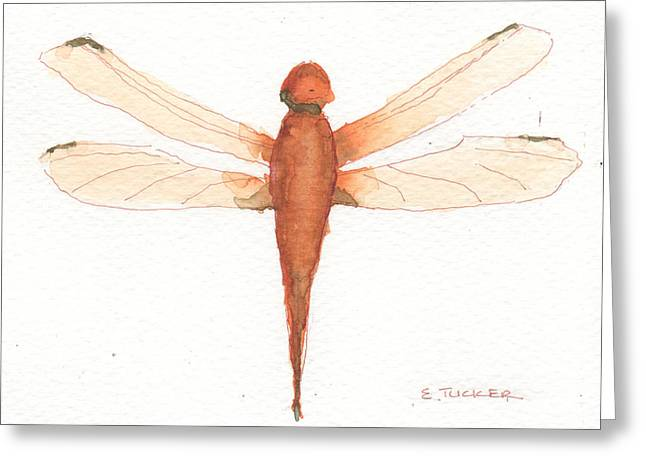 Time Related Greeting Cards - Orange Dragonfly Greeting Card by Elizabeth B Tucker