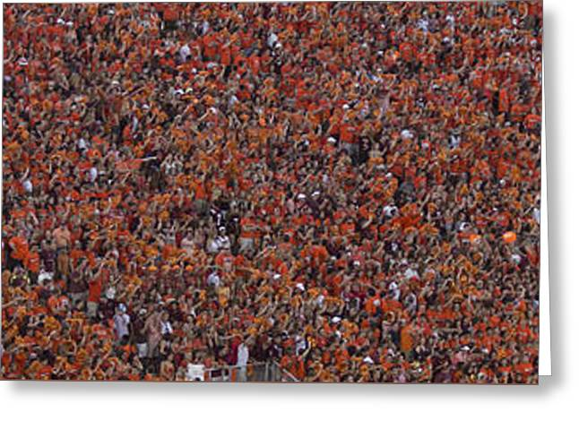 Virginia Tech Greeting Cards - Orange Effect Celebration Game One 2015 Greeting Card by Betsy C  Knapp