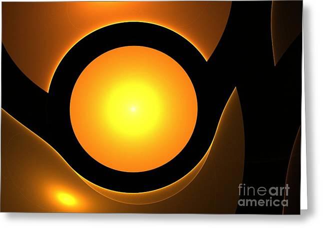 Abstract Digital Paintings Greeting Cards - Orange Eye Greeting Card by Stefan Kuhn