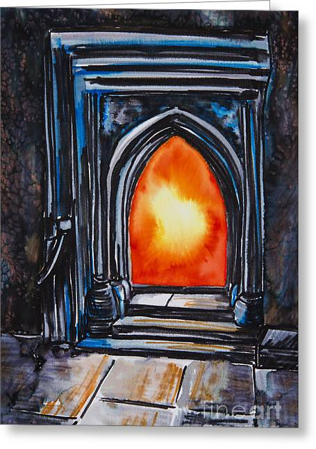 Painted Image Greeting Cards - Orange Fire In A Fireplace Greeting Card by Tara Thelen