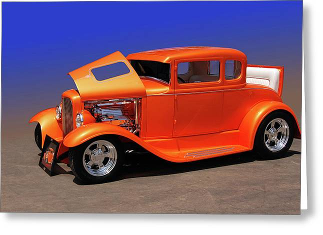 Deuce Coupe Greeting Cards - Orange Five Greeting Card by Bill Dutting