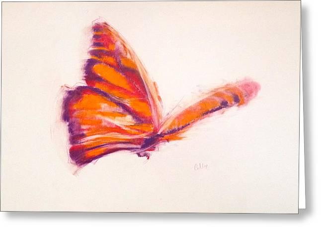 Flying Animal Pastels Greeting Cards - Orange Flight Greeting Card by Calla Beddow