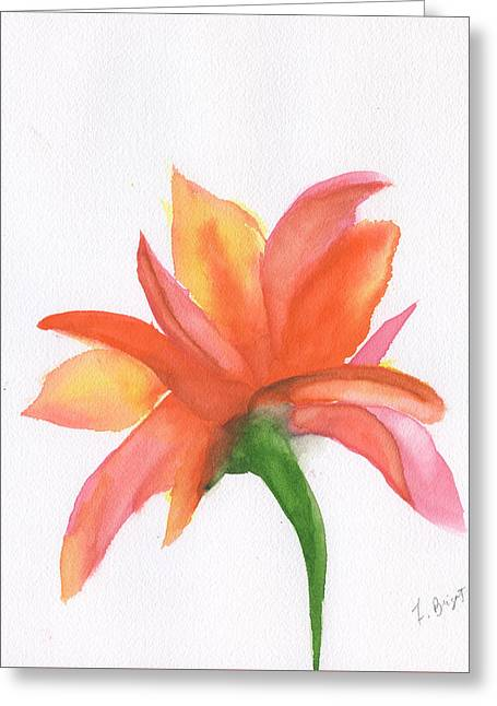 Abstract Nature Greeting Cards - Orange Flower Backside Greeting Card by Frank Bright