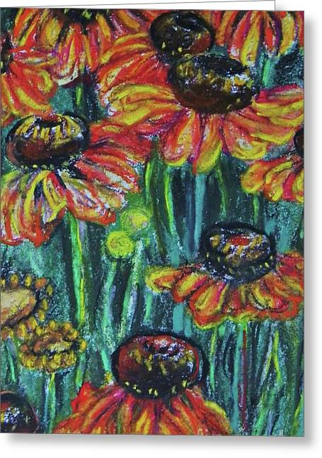 Flower. Petals Pastels Greeting Cards - Orange Flowers 2 Greeting Card by Emily Michaud