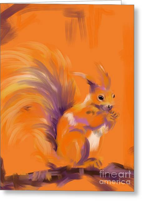 Modern Art Greeting Cards - Orange Forest Squirrel Greeting Card by Go Van Kampen