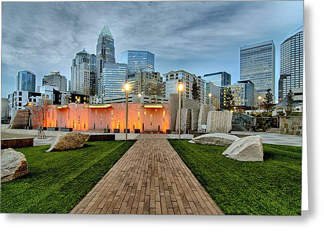 Qc Greeting Cards - Orange Fountains Lit Up With Charlotte Skyline Greeting Card by Alexandr Grichenko