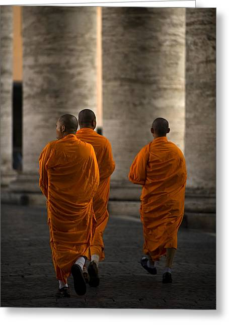Monks Greeting Cards - Orange Guests Greeting Card by Fulvio Pellegrini
