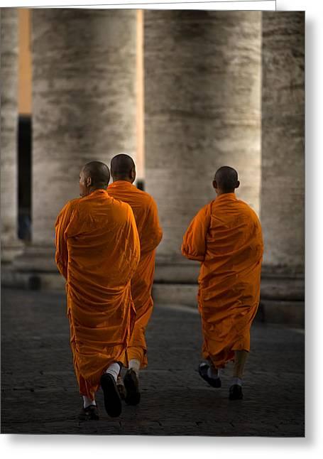 Monks Greeting Cards - Orange Guests Greeting Card by Fulvio Pellegrini