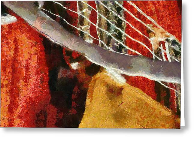 Guitar Pastels Greeting Cards - Orange Guitar Greeting Card by Russ Harris