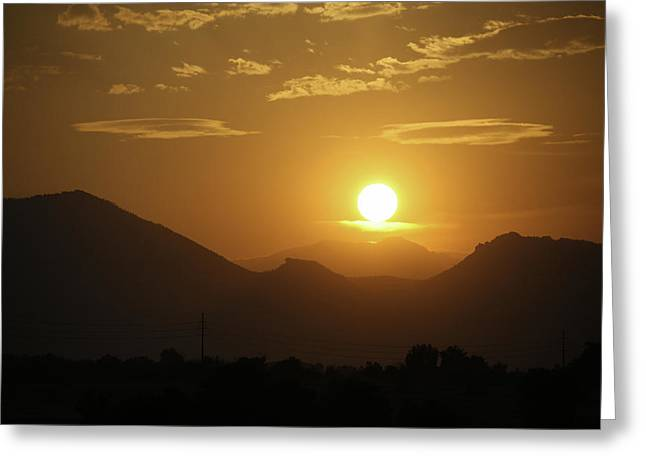 Haze Greeting Cards - Golden Sunset Greeting Card by Marilyn Hunt
