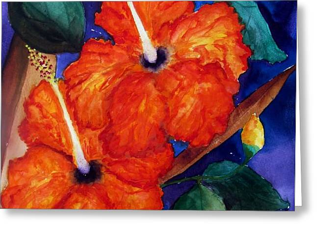 Orange Hibiscus Greeting Card by Lil Taylor
