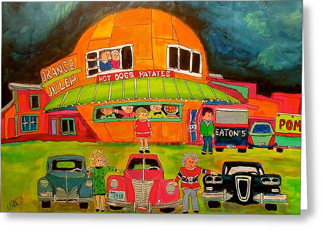 Orange Julep Edsel And Friends Greeting Card by Michael Litvack