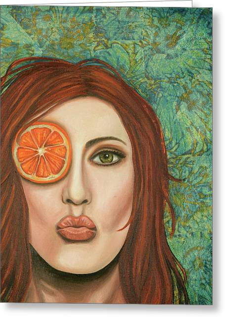 Orange Kiss Greeting Card by Leah Saulnier The Painting Maniac