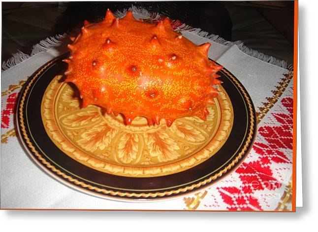 Orange Kiwano Melon. Cucumis Metuliferus Greeting Card by Sofia Goldberg