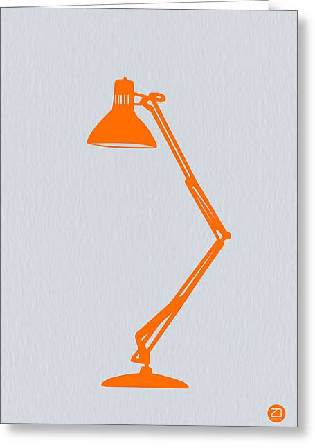 Desk Greeting Cards - Orange Lamp Greeting Card by Naxart Studio
