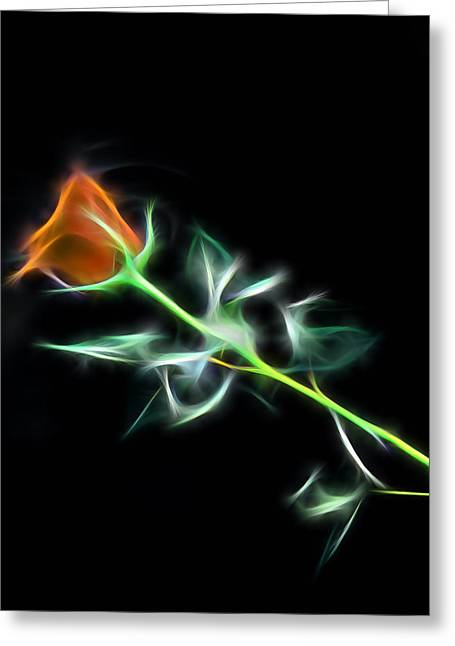 Bedroom Art Greeting Cards - Orange Lightning Greeting Card by Marvin Blaine