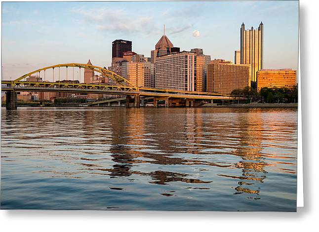 Pirates Greeting Cards - Orange Moonrise in Pittsburgh Greeting Card by Matt Hammerstein