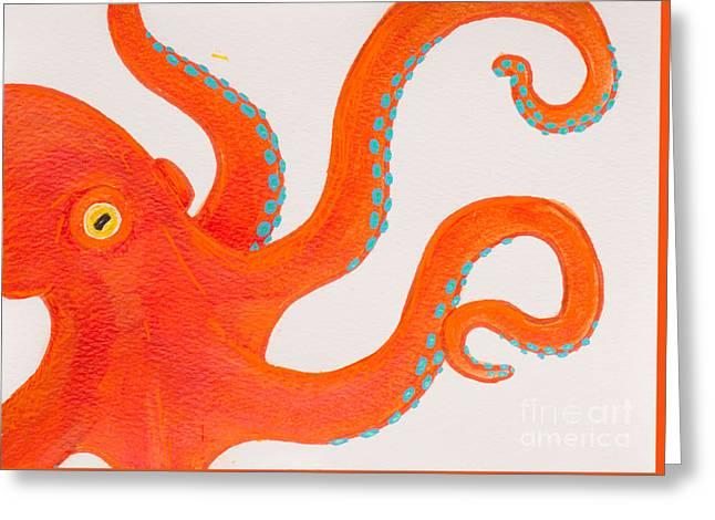 White Paintings Greeting Cards - Orange octopus Greeting Card by Stefanie Forck