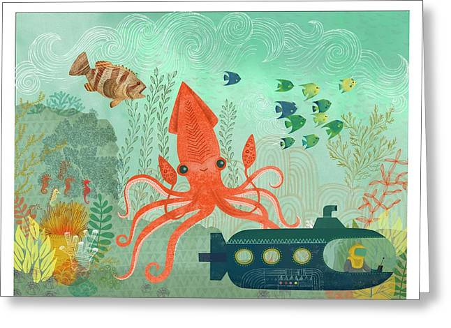 Aquatic Plant Greeting Cards - Orange Octopus Underwater With Submarine Greeting Card by Gillham Studios