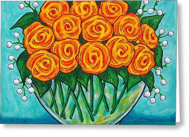 Babies Breath Greeting Cards - Orange Passion Greeting Card by Lisa  Lorenz