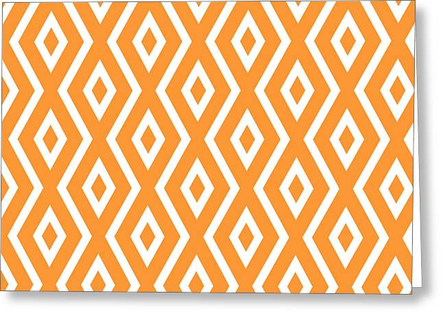 Bedroom Art Greeting Cards - Orange Pattern Greeting Card by Christina Rollo