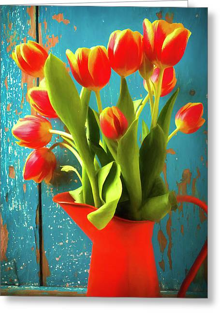 Orange Pitcher With Tulips Greeting Card by Garry Gay