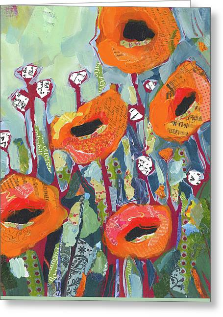 Flower Greeting Cards - Orange Poppies Greeting Card by Shelli Walters
