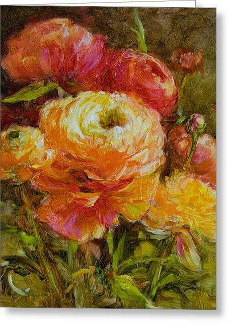Orange Ranunculus Greeting Card by Tracie Thompson