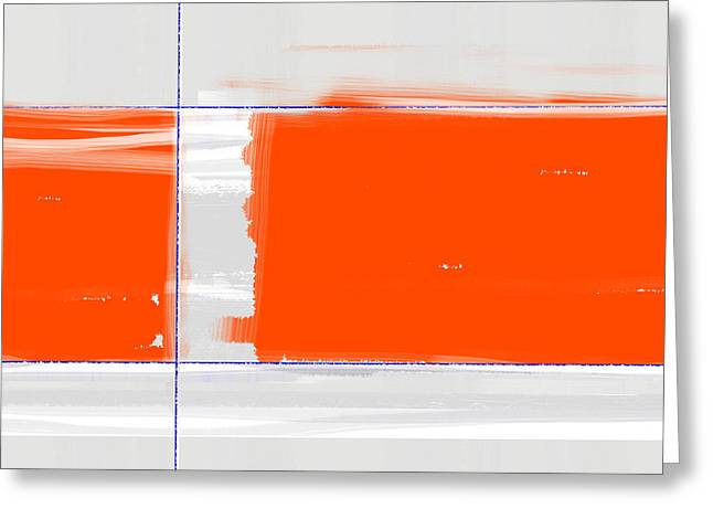 Line Paintings Greeting Cards - Orange Rectangle Greeting Card by Naxart Studio