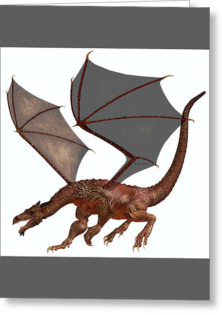 Fantasy Creatures Greeting Cards - Orange Red Dragon Greeting Card by Corey Ford