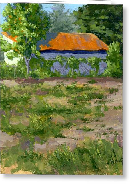Shed Paintings Greeting Cards - Orange Roof Greeting Card by David King