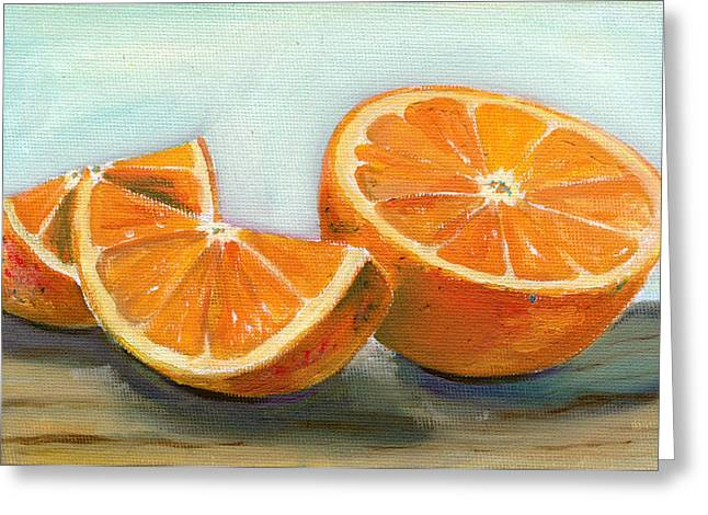 Fruit Food Greeting Cards - Orange Greeting Card by Sarah Lynch
