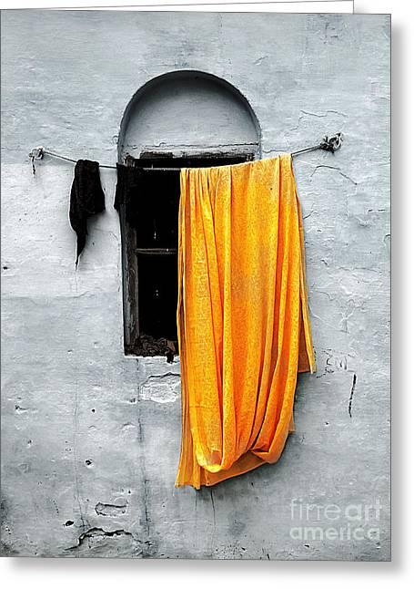 Wall Street Greeting Cards - Orange Sari Greeting Card by Derek Selander