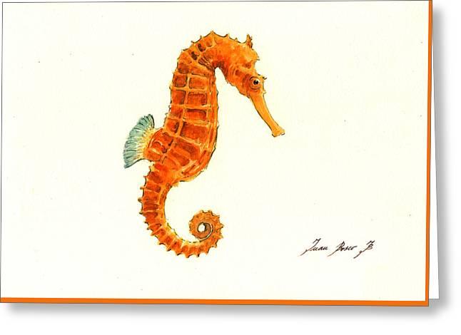 Orange Seahorse Greeting Card by Juan Bosco