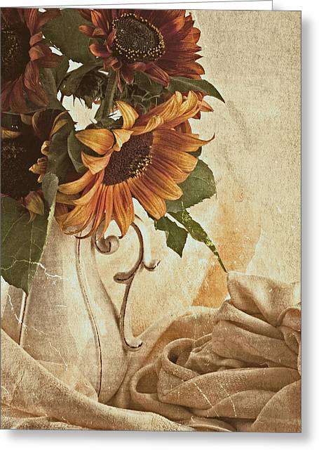 Interior Still Life Greeting Cards - Orange Sunflowers - Found In The Attic Greeting Card by Sandra Foster