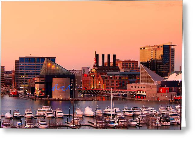 City Scapes Greeting Cards Greeting Cards - Orange Sunset at the Aquarium Greeting Card by Kenneth Losurdo