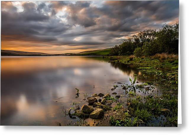 Contrast Greeting Cards - Orange Sunset Over A Calm Lake. Greeting Card by Daniel Kay