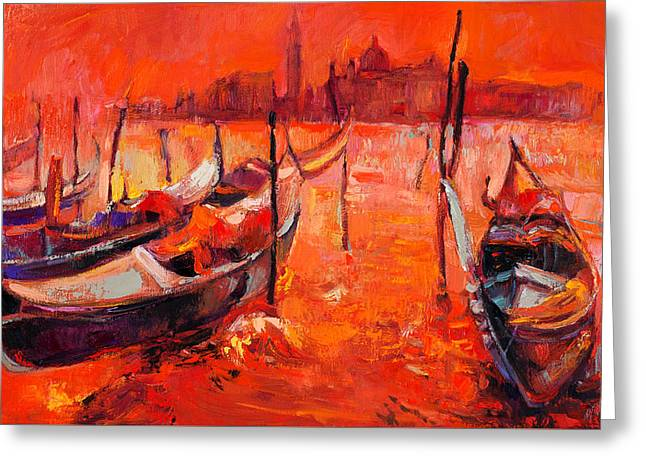 Orange Sunset Over Venice By Ivailo Nikolov Greeting Card by Boyan Dimitrov