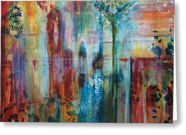 Abstract Expressionist Greeting Cards - Orange Sunshine Greeting Card by Natalie Singer