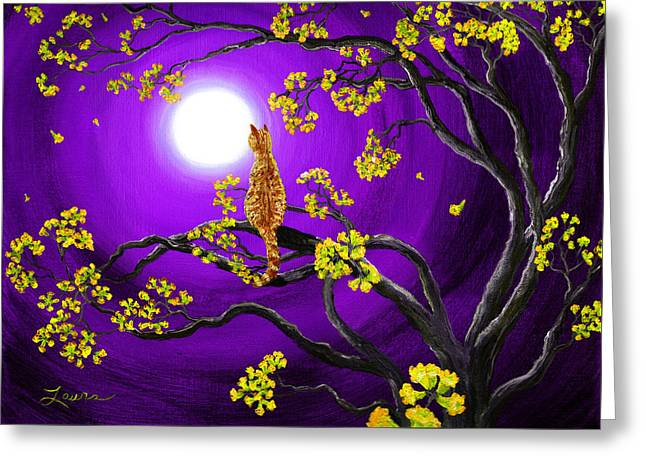 Purple Tree Greeting Cards - Orange Tabby Cat in Golden Flowers Greeting Card by Laura Iverson