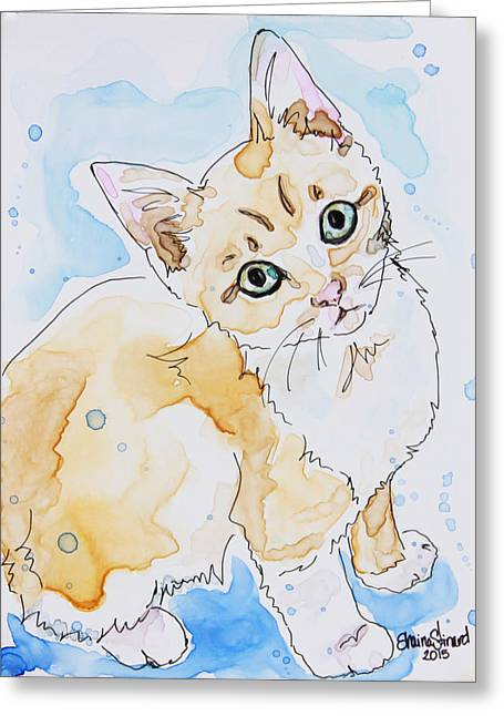 Orange Tabby Paintings Greeting Cards - Orange Tabby  Greeting Card by Shaina Stinard