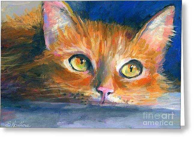 Cute Kitten Drawings Greeting Cards - Orange Tubby Cat painting Greeting Card by Svetlana Novikova