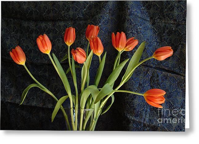 Glass Vase Greeting Cards - Orange Tulips On Blue Greeting Card by Georgia Sheron